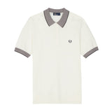 Fred Perry Stripe Trim Knitted Shirt<p>Snow White