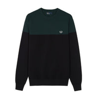 Fred Perry Panelled Crew Neck Jumper<p>Black