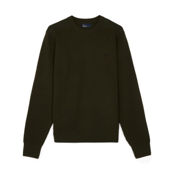 Fred Perry Waffle Texture Crew Neck Jumper<p>Hunting Green