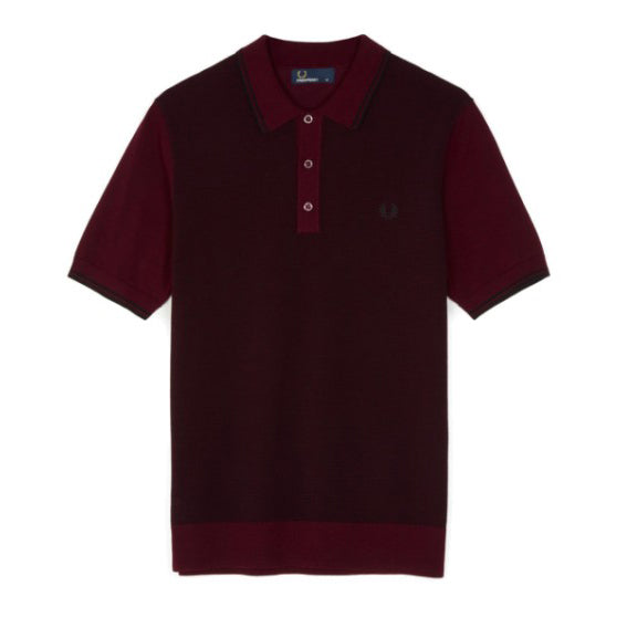 Fred Perry Textured Knitted Shirt<p>Rich Mahogany