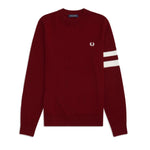 Fred Perry Tipped Sleeve Crew Neck<p>Dark Red