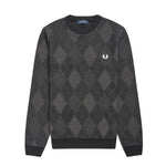 Fred Perry Tonal Argyle Crew Neck Jumper<p>Black