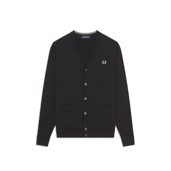 Fred Perry V Neck Cardigan<p>Black