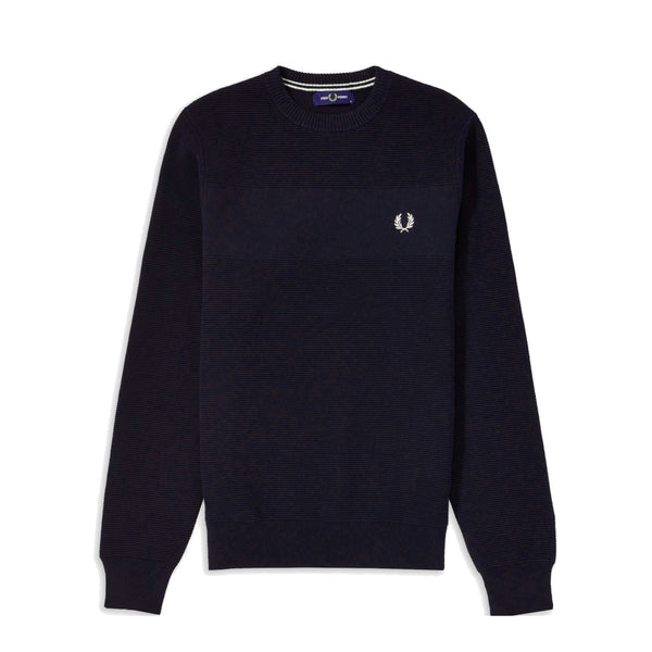 Fred Perry Textured Stripe Jumper<p>Black Navy