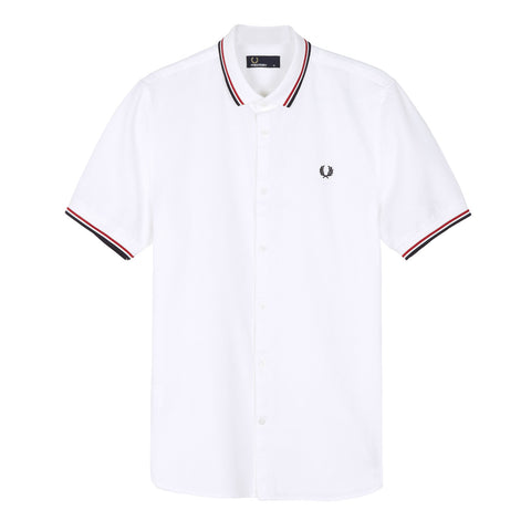 Fred Perry Twin Tipped Waffle Shirt<p>White