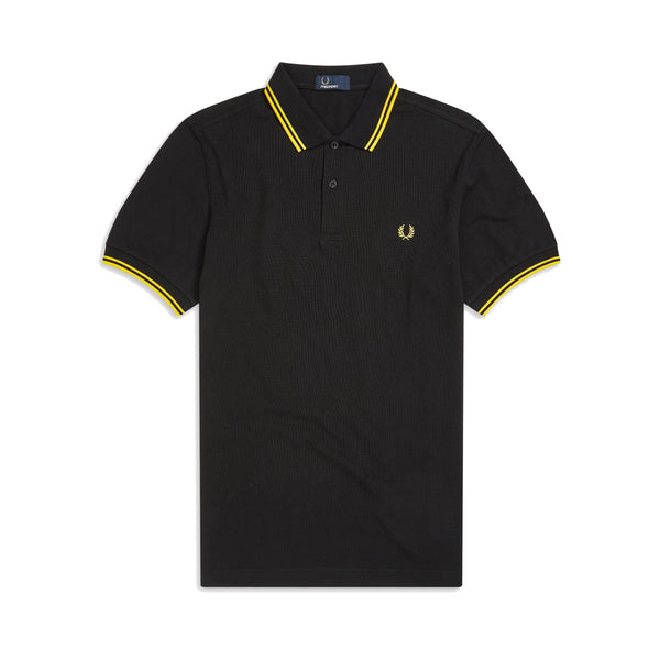 Fred Perry M36 Twin Tipped Polo Shirt <p>Black/ New Yellow