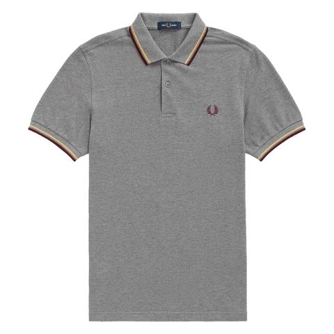 Fred Perry M36 Twin Tipped Polo Shirt <p>Grey Marl/ Champagne/ Mahogany