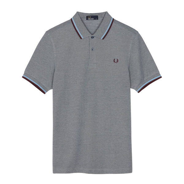 Fred Perry Twin Tipped Shirt 3600<p>Dark Carbon Oxford/Sky Blue/Shiraz