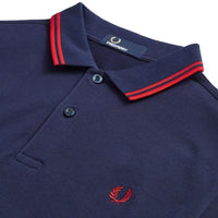 Fred Perry Twin Tipped Shirt<p>Carbon Blue /Deep Red / Deep Red