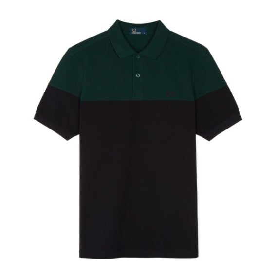 Fred Perry Panelled Piqué Polo Shirt<p>Black