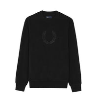 Fred Perry Embroidered Crew Neck Fleece<p>Black