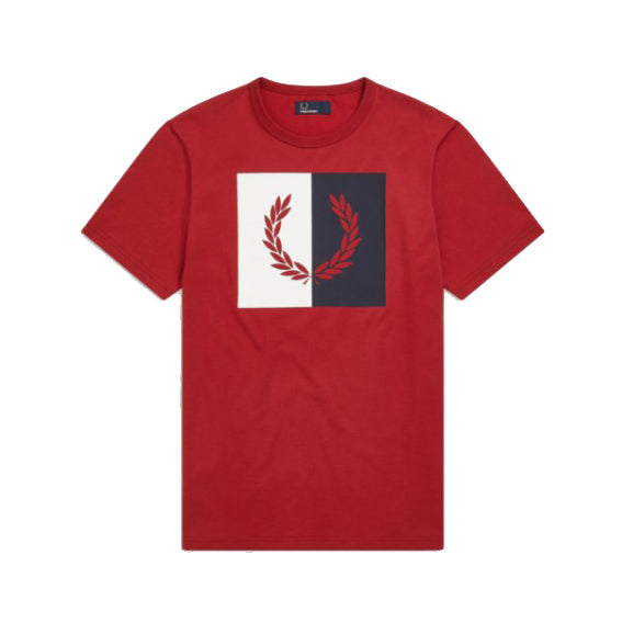 Fred Perry Split Laurel T-Shirt<p>Rich Red
