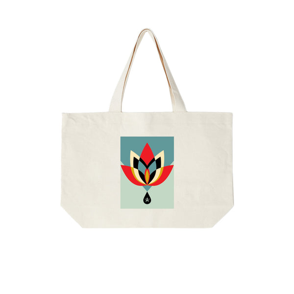 Obey Geometric Flower Tote Bag <p> Natural