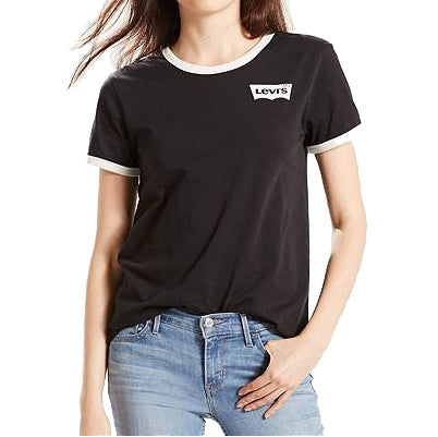 Levi's Perfect Ringer Tee<p>Black Housemark