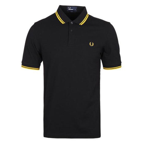 Fred Perry Twin Tipped Piqué Shirt <p> Black/New Yellow