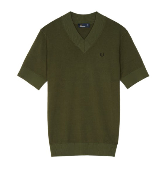 Fred Perry Knitted V-Neck<p>Forest Night