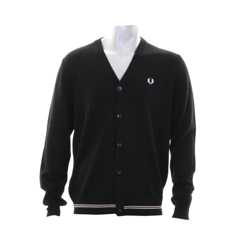 Fred Perry Tipped Merino Cardigan<p>Black
