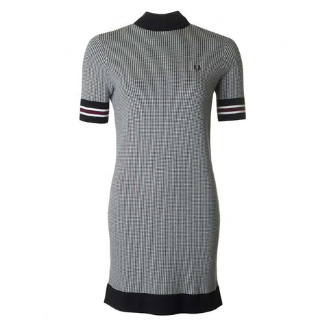 Fred Perry Houndstooth Knitted Dress<p>Black