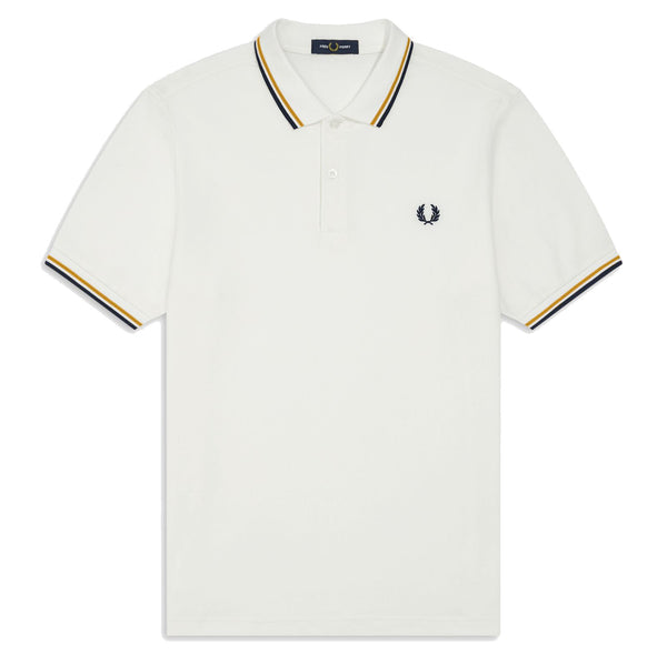 Fred Perry Twin Tipped Polo Shirt <p>Snow White / Gold / Black