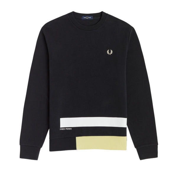 Fred Perry Printed Panelled Sweatshirt<p>Black