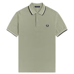 Cópia de Perry Twin Tipped Polo Shirt <p> Seagrass / Ecru / Navy