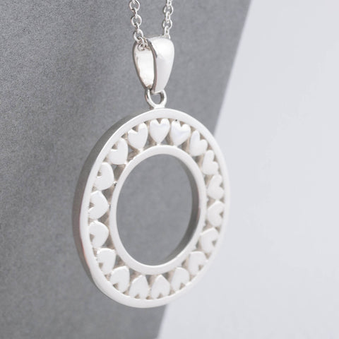 Ring of Hearts Pendant Long Necklace