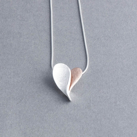 Rosa Silver and Rose Gold Heart Necklace
