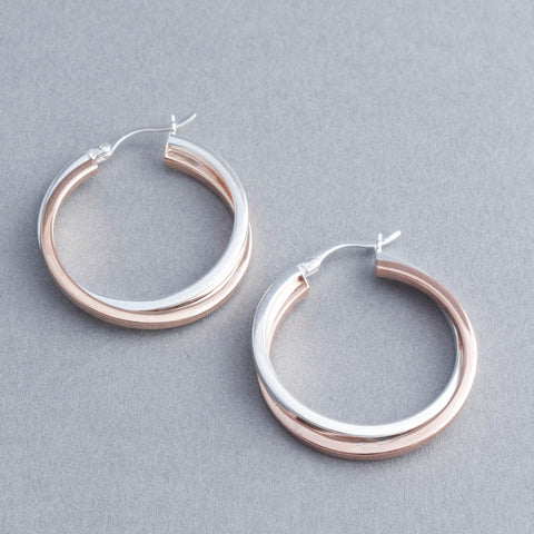 Rose Gold and Sterling Silver Medium Hoops