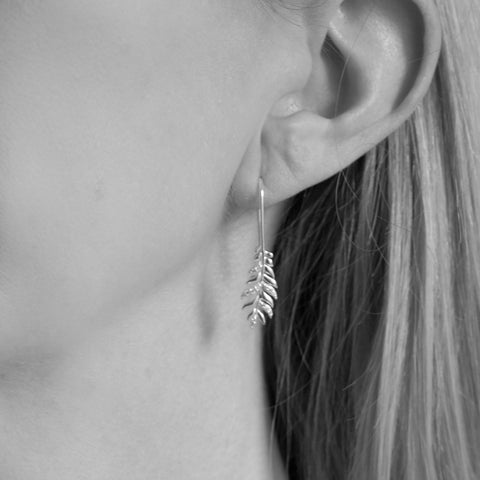 Georgia Sterling Silver Fern Leaf Drop Earrings