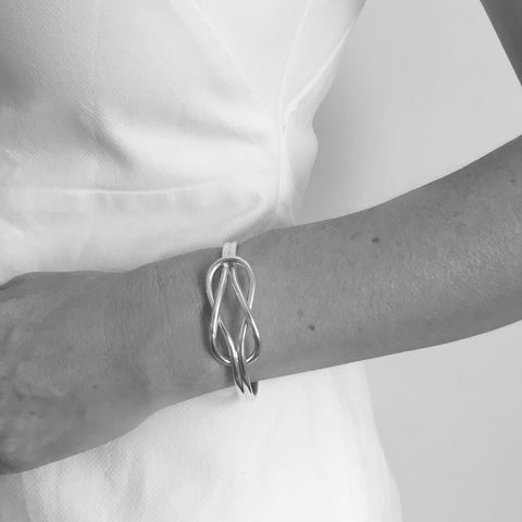 Teya Sterling Silver Reef Knot Torque Bangle
