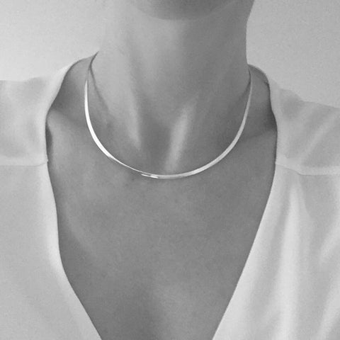 Sterling Silver Narrow 3mm Torque Collar Choker Necklace