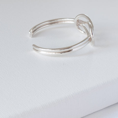 Sterling Silver Reef Knot Torque Bangle