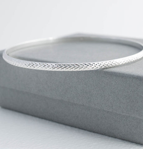 Slim Diamond Cut Silver Bangle