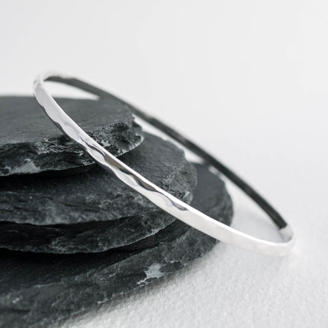 Sterling Silver Slim Hammered Slave Bangle