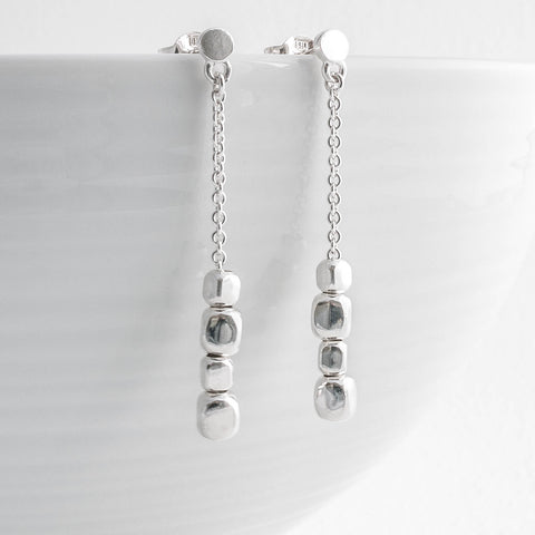 Endless Silver Cubes Earrings