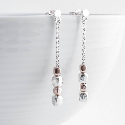 Rose Gold and Silver Cube Drop Earrings