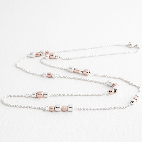 Endless Rose Gold and Silver Cube Station Necklace