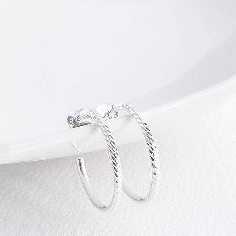 Diamond Cut Silver Hoop Earrings