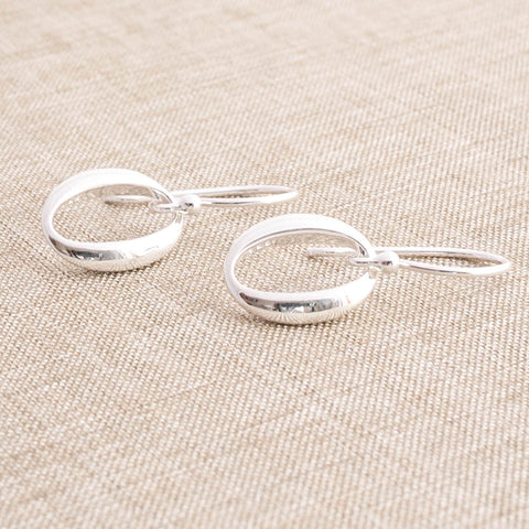 Silver Open Oval Drop Earrings