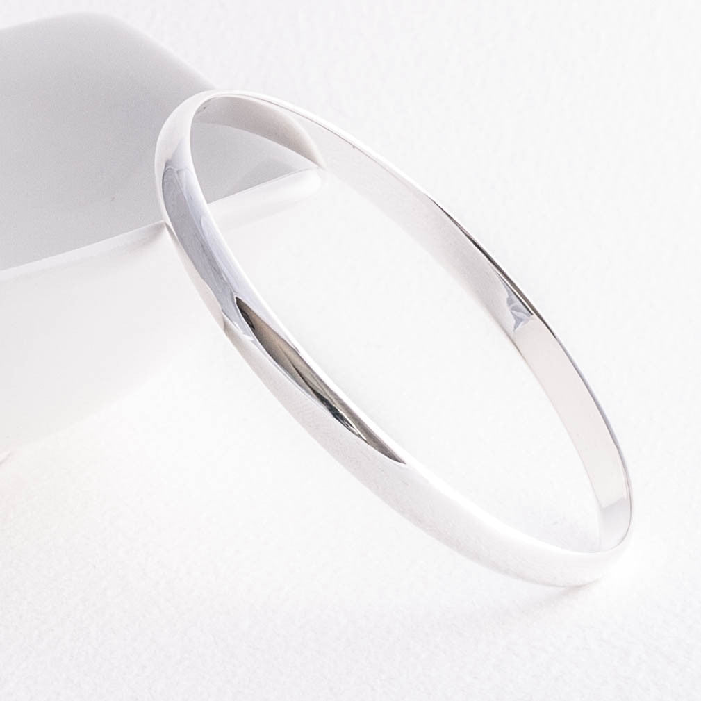 Classic Solid Sterling Silver 6mm Round Court Bangle