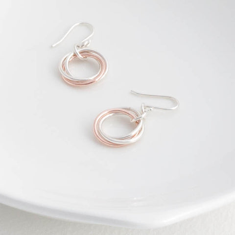 Silver and Rose Gold Russian Rings Drop Earrings