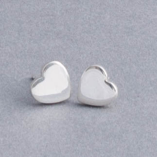 Silver Flat Heart Stud Earrings