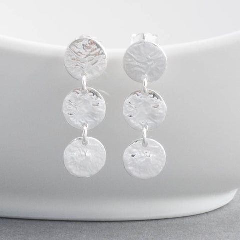 Triple Silver Disc Drop Earrings