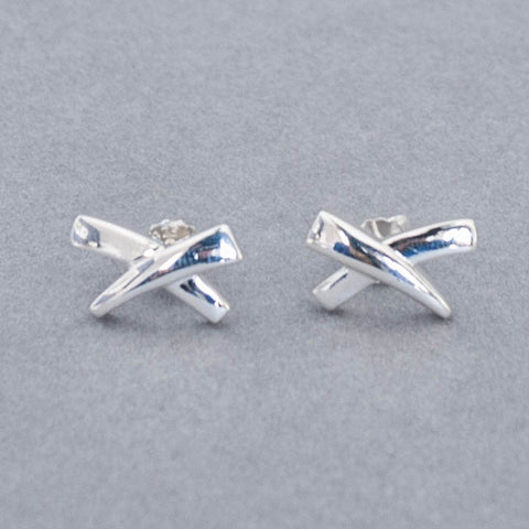 Silver Kiss Stud Earrings