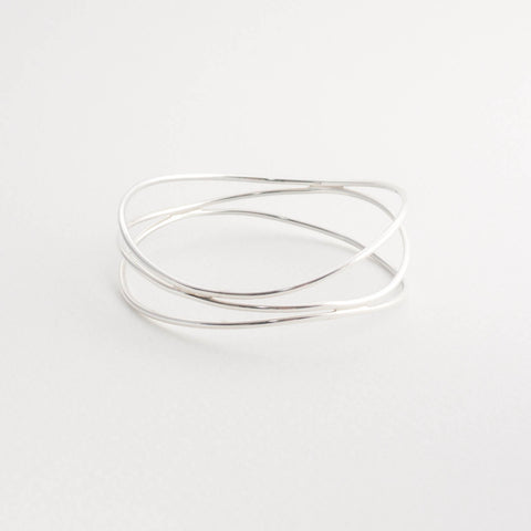 Sterling Silver Triple Wave Bangle