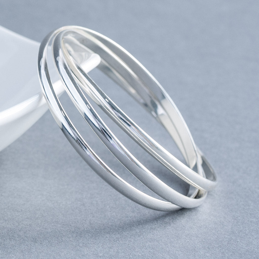 Solid Sterling Silver Classic 4mm Triple Slave Russian Wedding Bangle