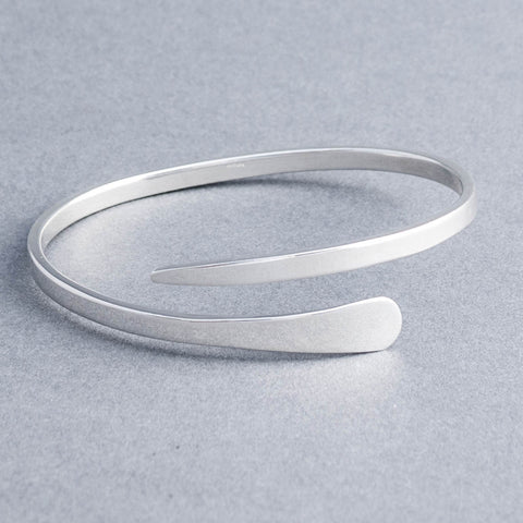 Lily Sterling Silver Tapered Cross Over Bangle