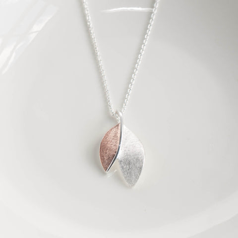 Jasmine Rose Gold and Silver Leaf Pendant