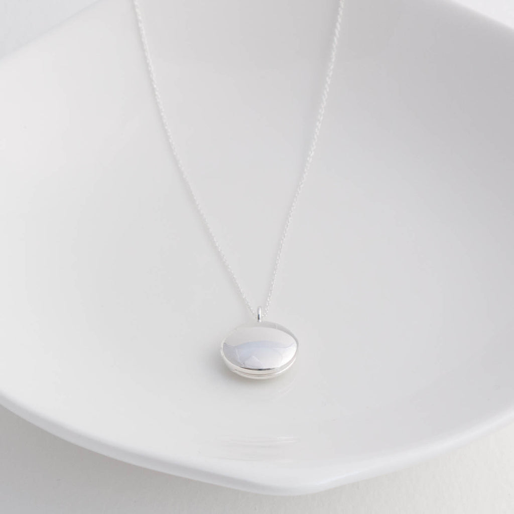 small round sterling silver locket pendant necklace