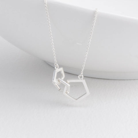 Geometric Silver Triple Pentagon Necklace
